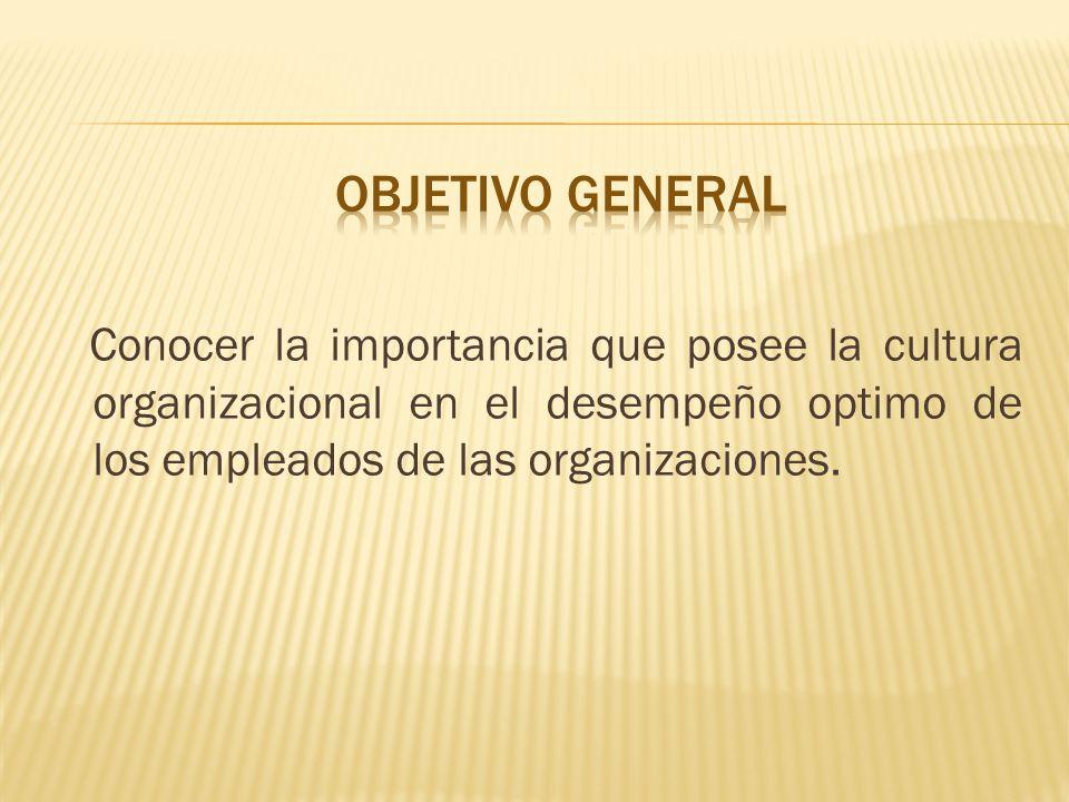 OBJETIVO GENERAL Conocer la importancia que posee la cultura organizacional en el desempeño optimo de los empleados de las organizaciones.