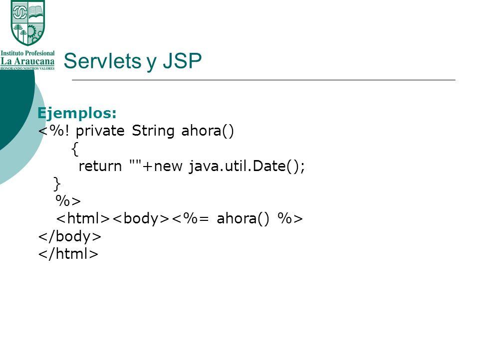 Servlets y JSP Ejemplos: <%! private String ahora() {