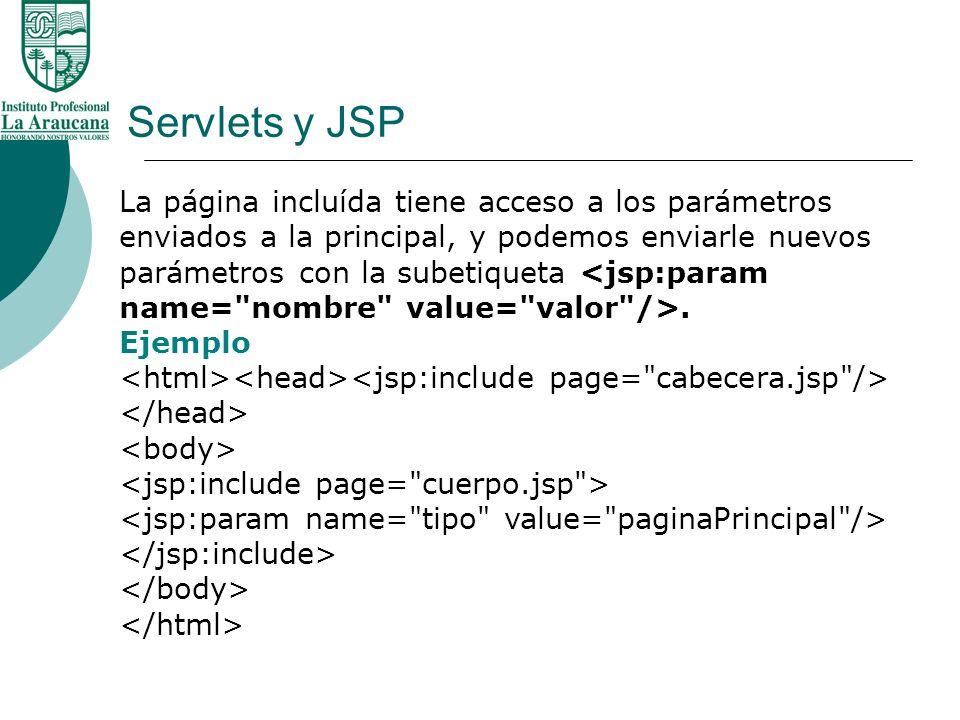Servlets y JSP La página incluída tiene acceso a los parámetros enviados a la principal, y podemos enviarle nuevos.