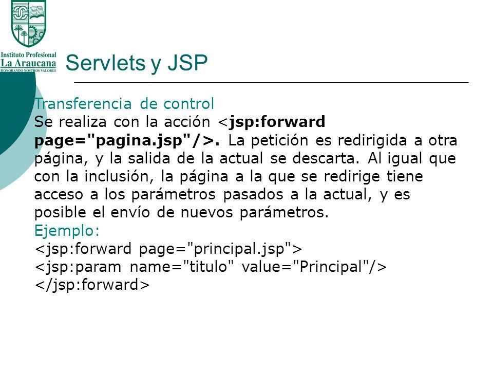 Servlets y JSP Transferencia de control