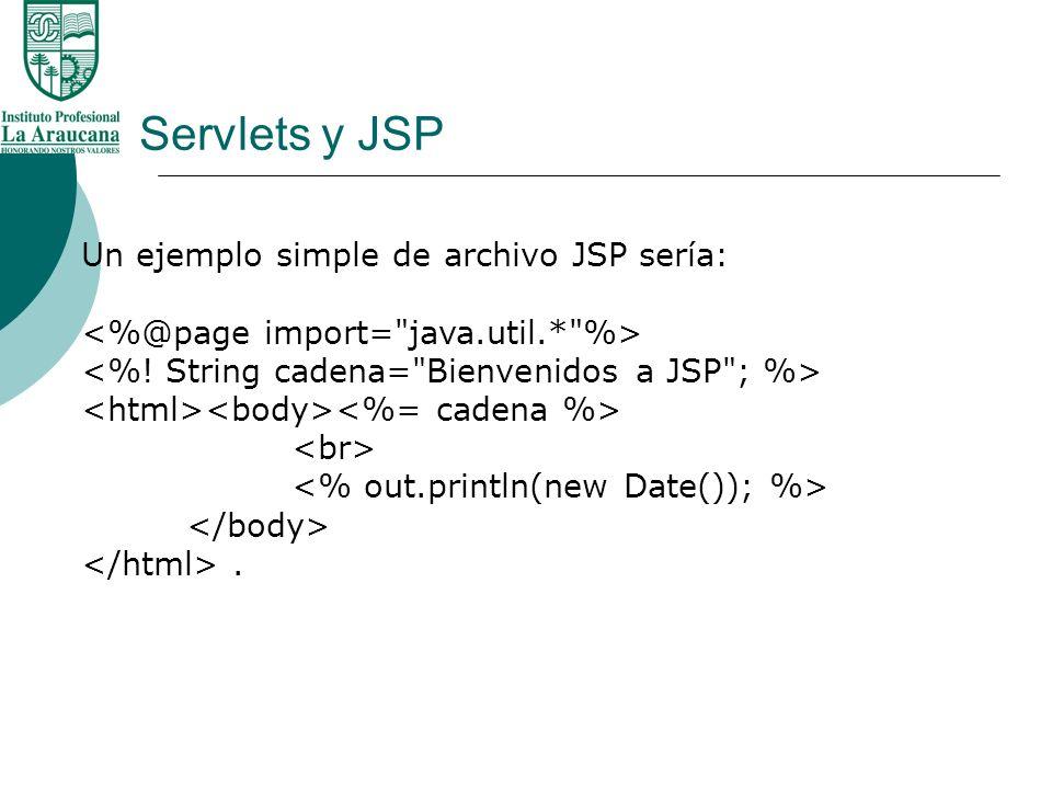 Servlets y JSP Un ejemplo simple de archivo JSP sería: