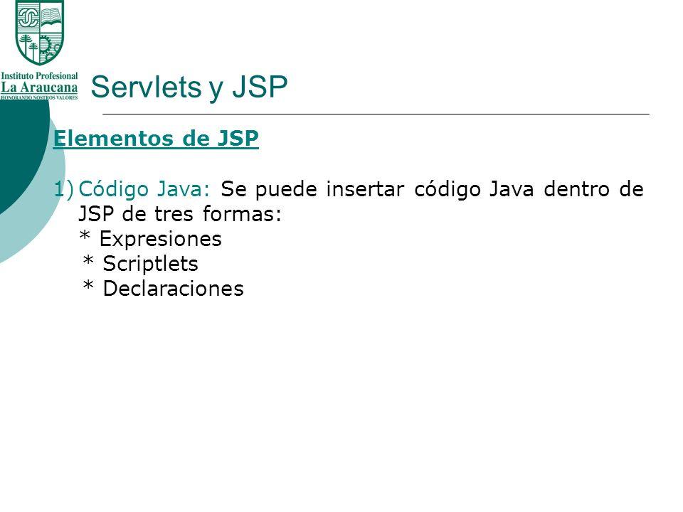 Servlets y JSP Elementos de JSP