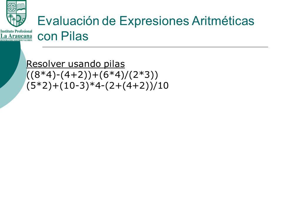 Evaluación de Expresiones Aritméticas con Pilas