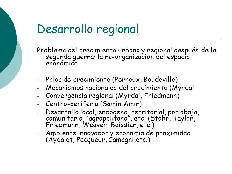Desarrollo regional Problema del crecimiento urbano y regional después de la segunda guerra: la re-organización del espacio económico.