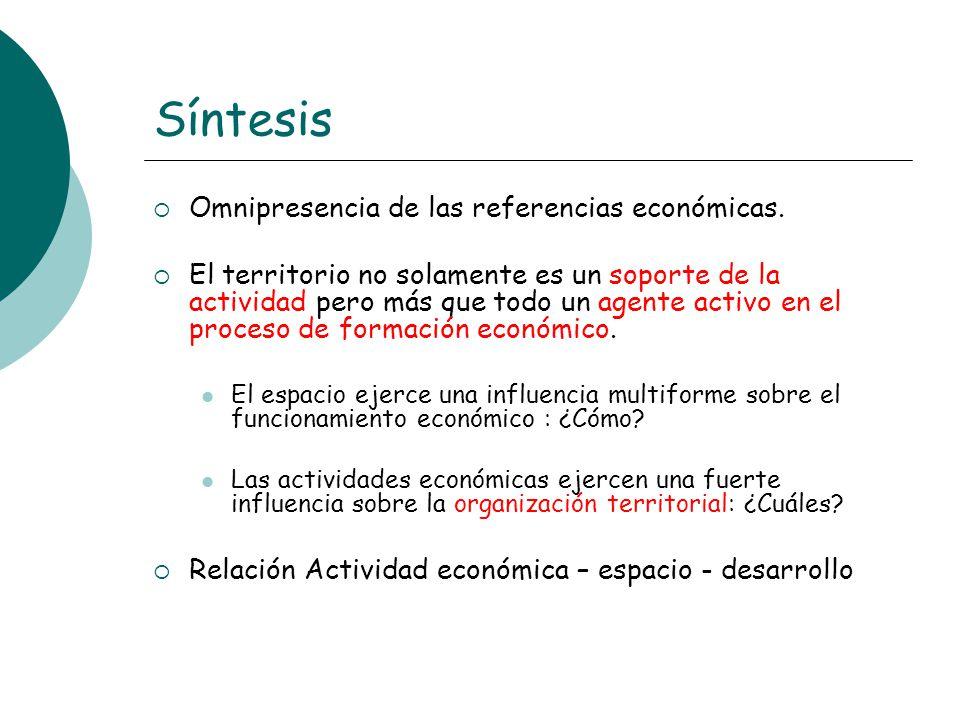 Síntesis Omnipresencia de las referencias económicas.
