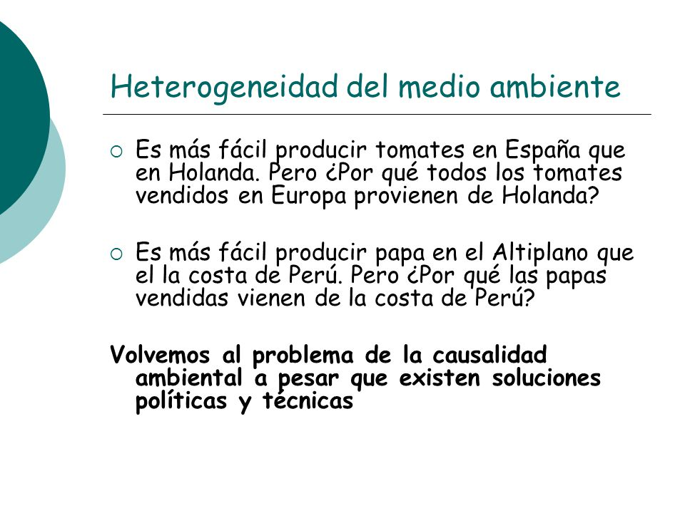 Heterogeneidad del medio ambiente