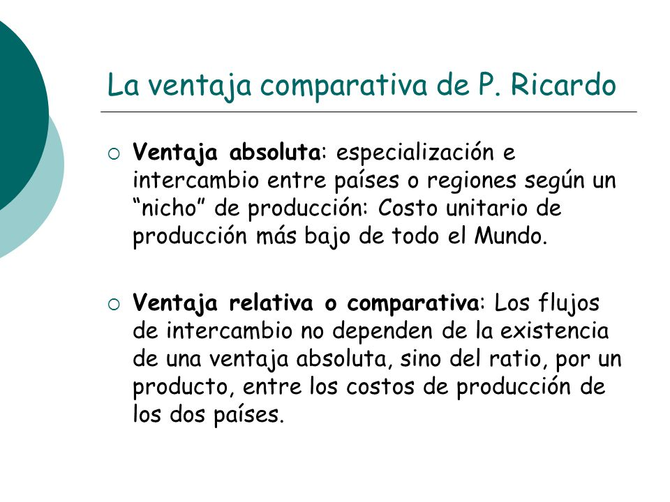 La ventaja comparativa de P. Ricardo