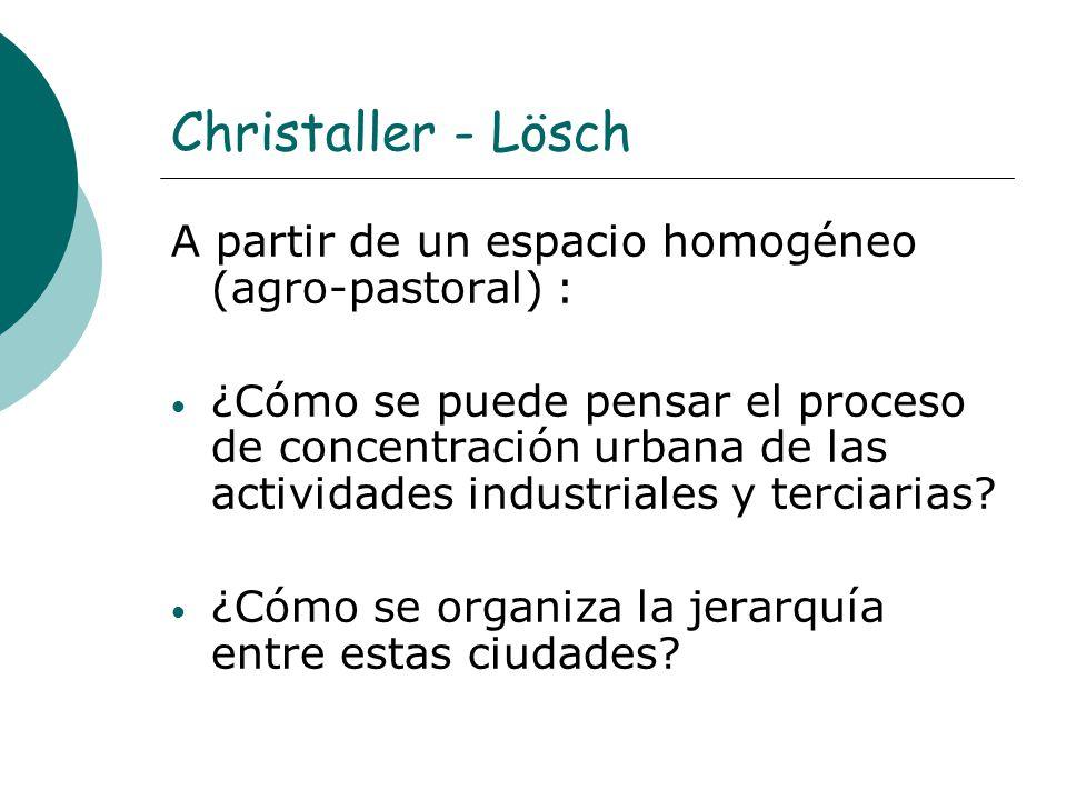 Christaller - Lösch A partir de un espacio homogéneo (agro-pastoral) :