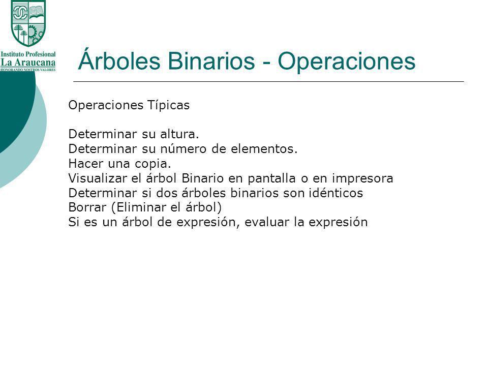 Árboles Binarios - Operaciones