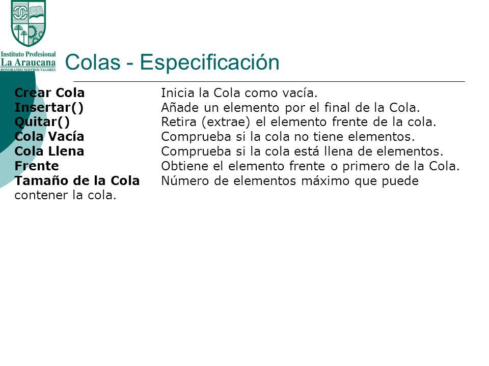 Colas - Especificación