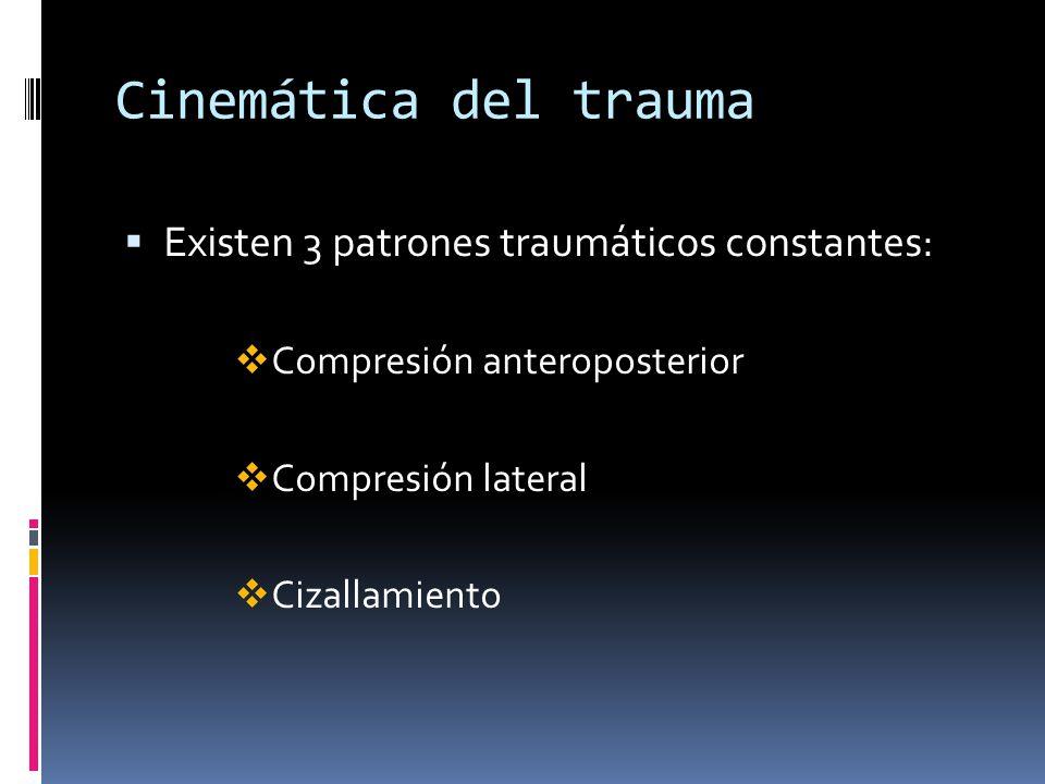 Cinemática del trauma Existen 3 patrones traumáticos constantes: