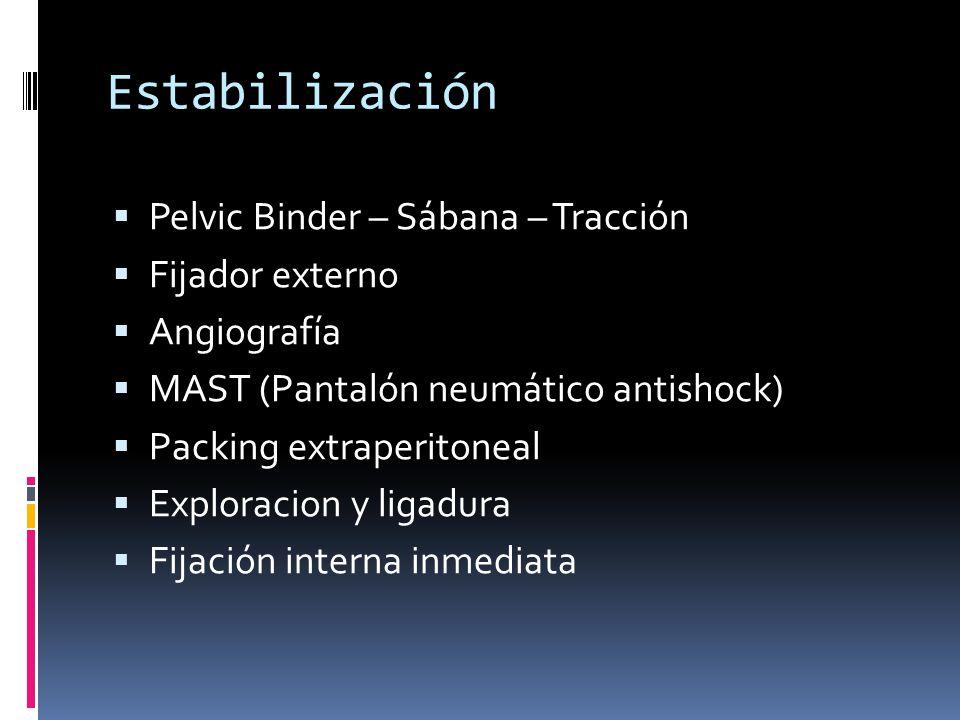 Estabilización Pelvic Binder – Sábana – Tracción Fijador externo