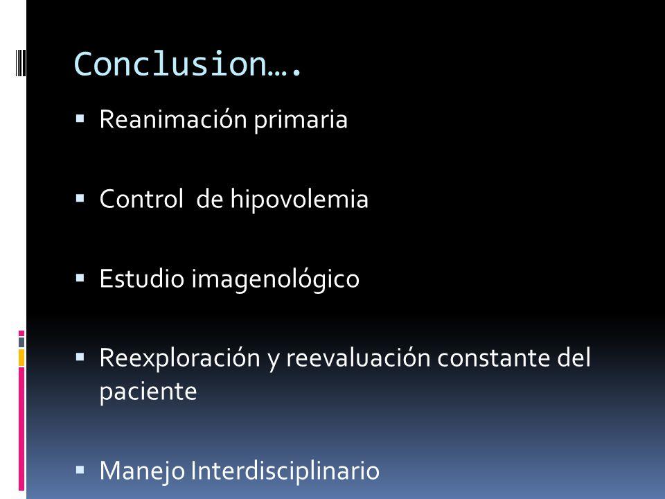 Conclusion…. Reanimación primaria Control de hipovolemia