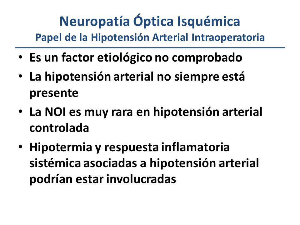 Neuropatía Óptica Isquémica Papel de la Hipotensión Arterial Intraoperatoria