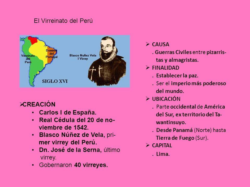 . Lima. El Virreinato del Perú CREACIÓN Carlos I de España.