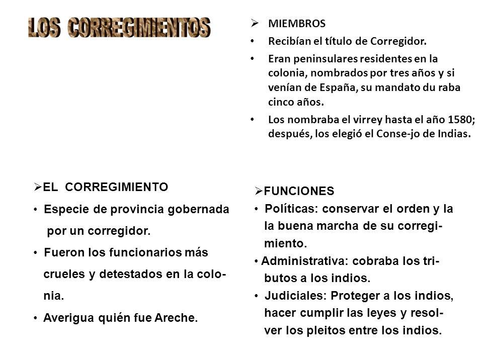 LOS CORREGIMIENTOS MIEMBROS Recibían el título de Corregidor.