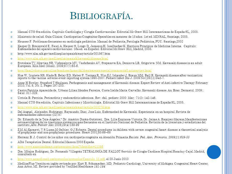 Bibliografía. Manual CTO 6ta edición. Capítulo: Cardiología y Cirugía Cardiovascular. Editorial Mc Graw Hill Interamericana de España SL, 2005.