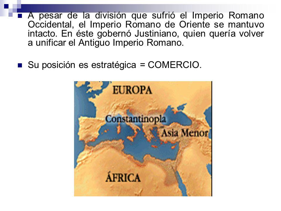 A pesar de la división que sufrió el Imperio Romano Occidental, el Imperio Romano de Oriente se mantuvo intacto. En éste gobernó Justiniano, quien quería volver a unificar el Antiguo Imperio Romano.