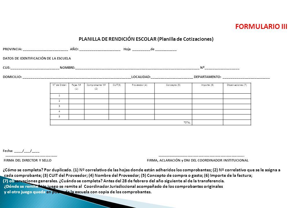 PLANILLA DE RENDICIÓN ESCOLAR (Planilla de Cotizaciones)