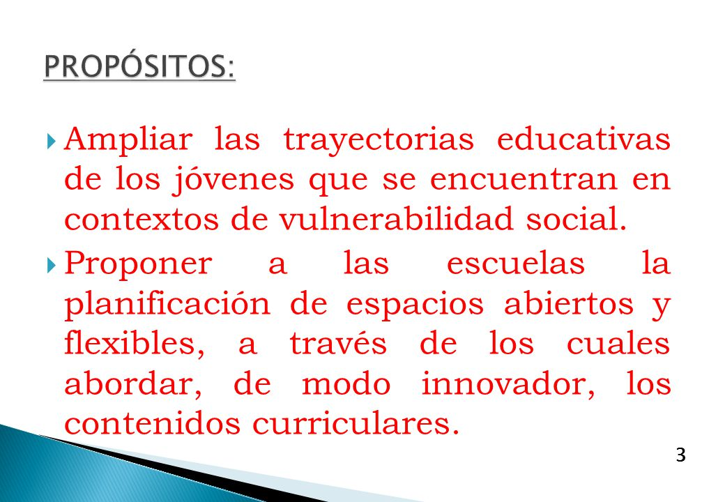 PROPÓSITOS: Ampliar las trayectorias educativas de los jóvenes que se encuentran en contextos de vulnerabilidad social.