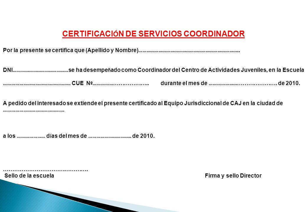 CERTIFICACIÓN DE SERVICIOS COORDINADOR