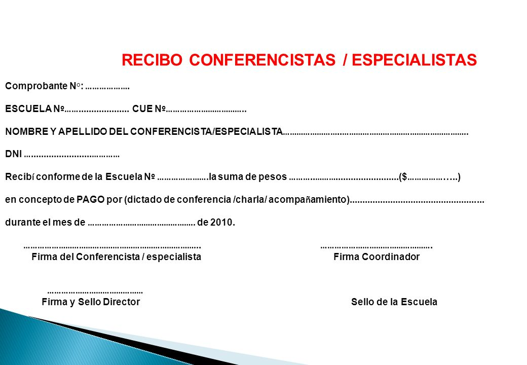 RECIBO CONFERENCISTAS / ESPECIALISTAS
