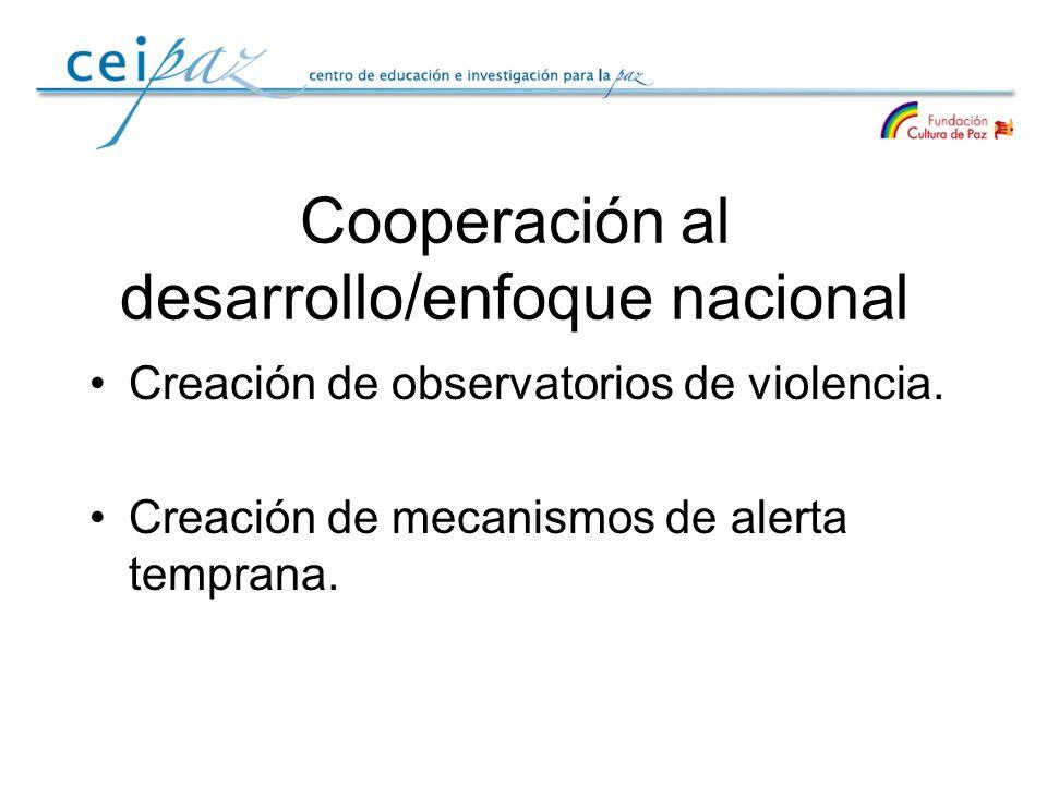 Cooperación al desarrollo/enfoque nacional