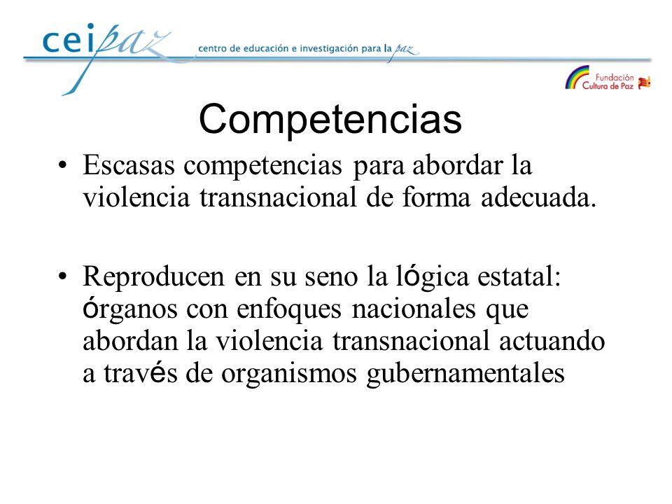 Competencias Escasas competencias para abordar la violencia transnacional de forma adecuada.
