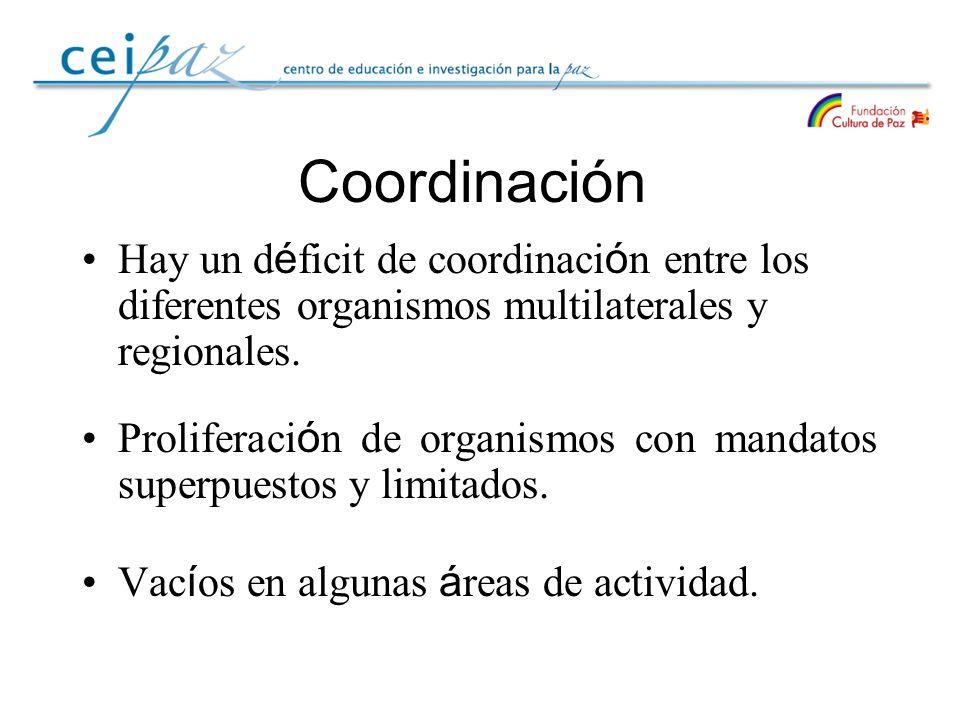 Coordinación Hay un déficit de coordinación entre los diferentes organismos multilaterales y regionales.