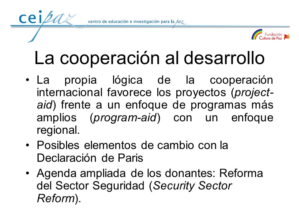 La cooperación al desarrollo