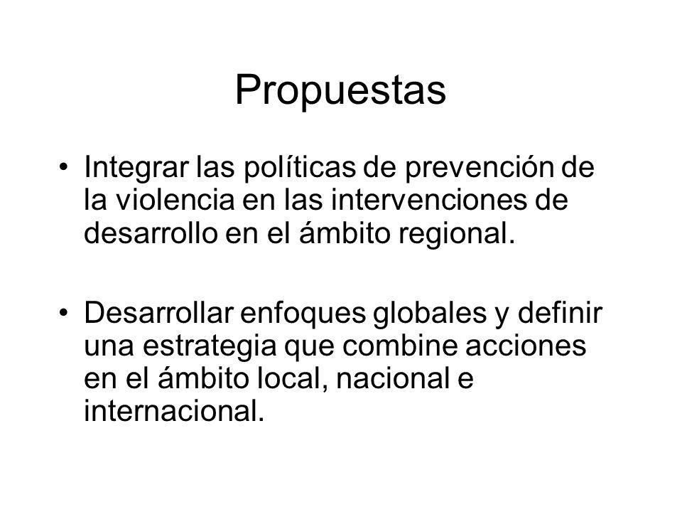 Propuestas Integrar las políticas de prevención de la violencia en las intervenciones de desarrollo en el ámbito regional.