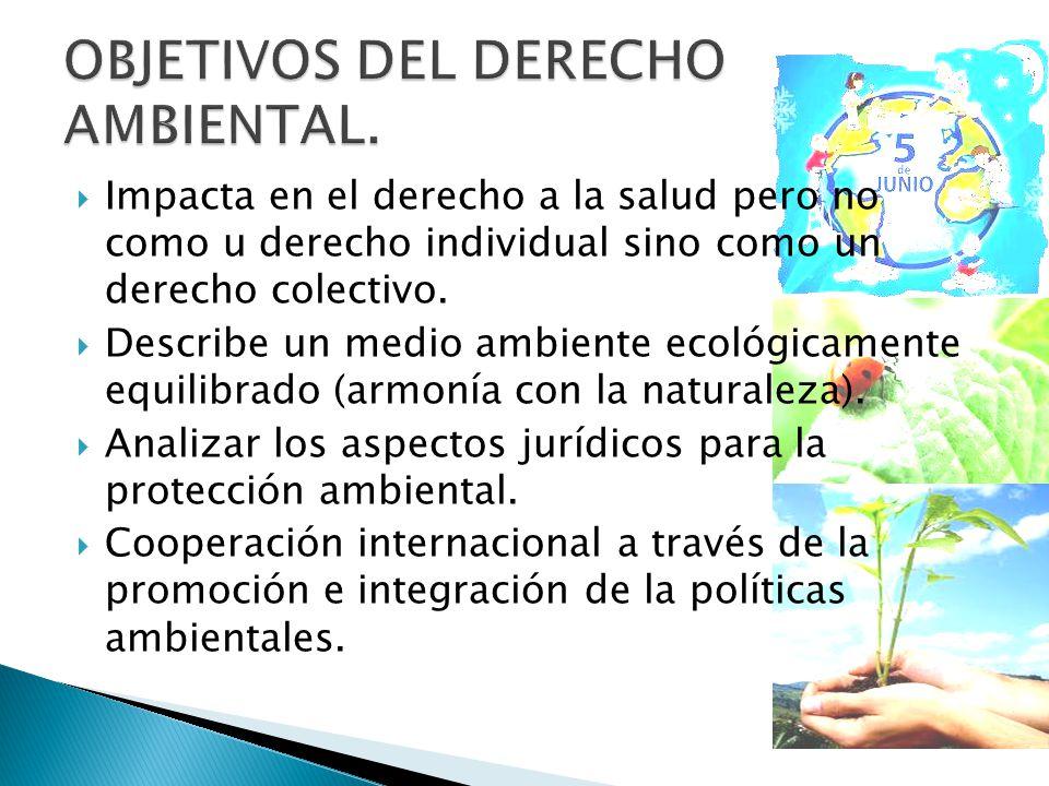 OBJETIVOS DEL DERECHO AMBIENTAL.