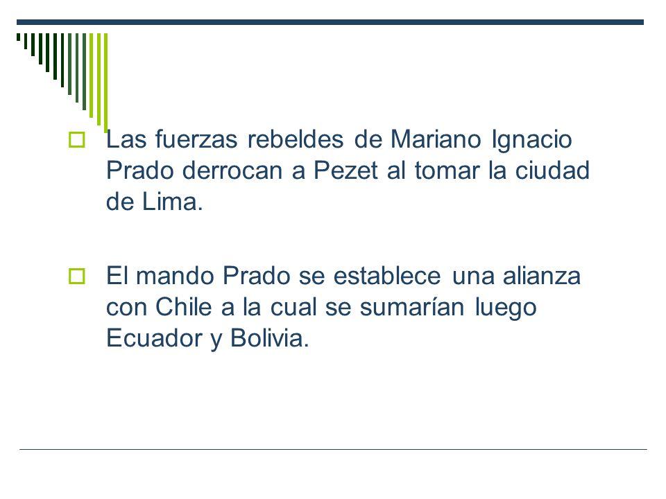 Las fuerzas rebeldes de Mariano Ignacio Prado derrocan a Pezet al tomar la ciudad de Lima.