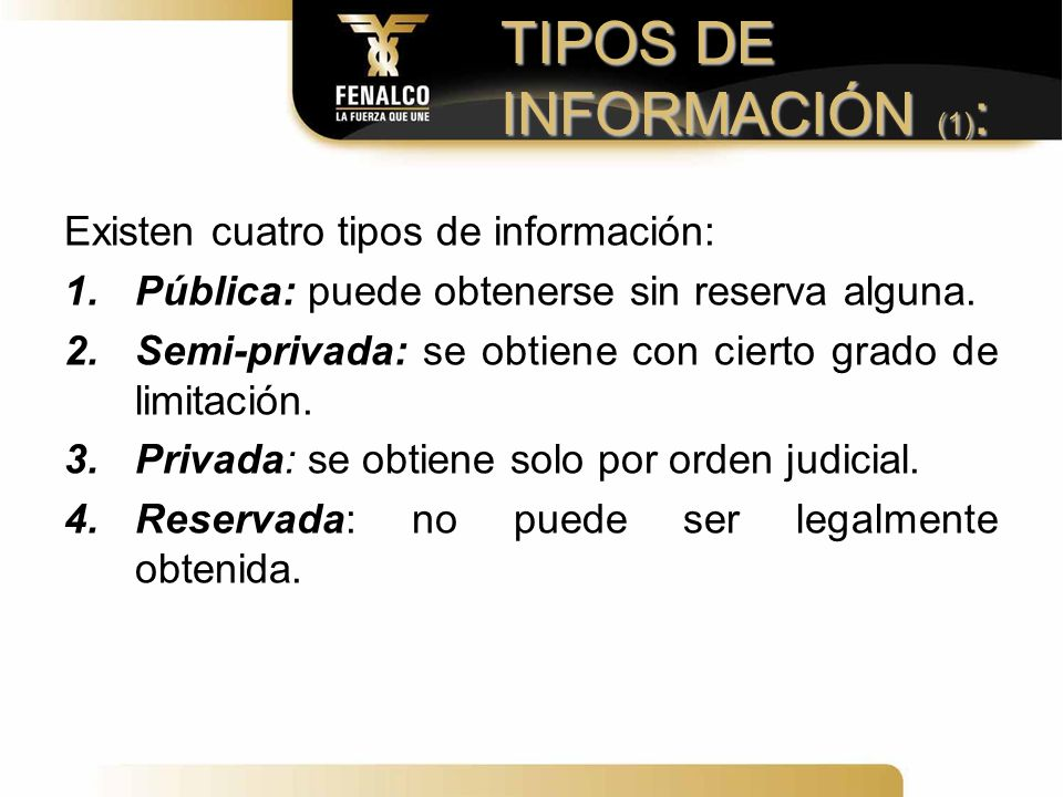TIPOS DE INFORMACIÓN (1):