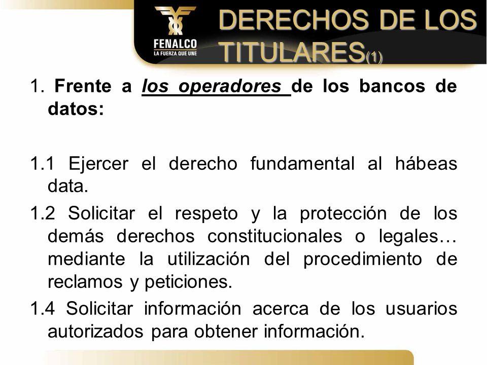 DERECHOS DE LOS TITULARES(1)
