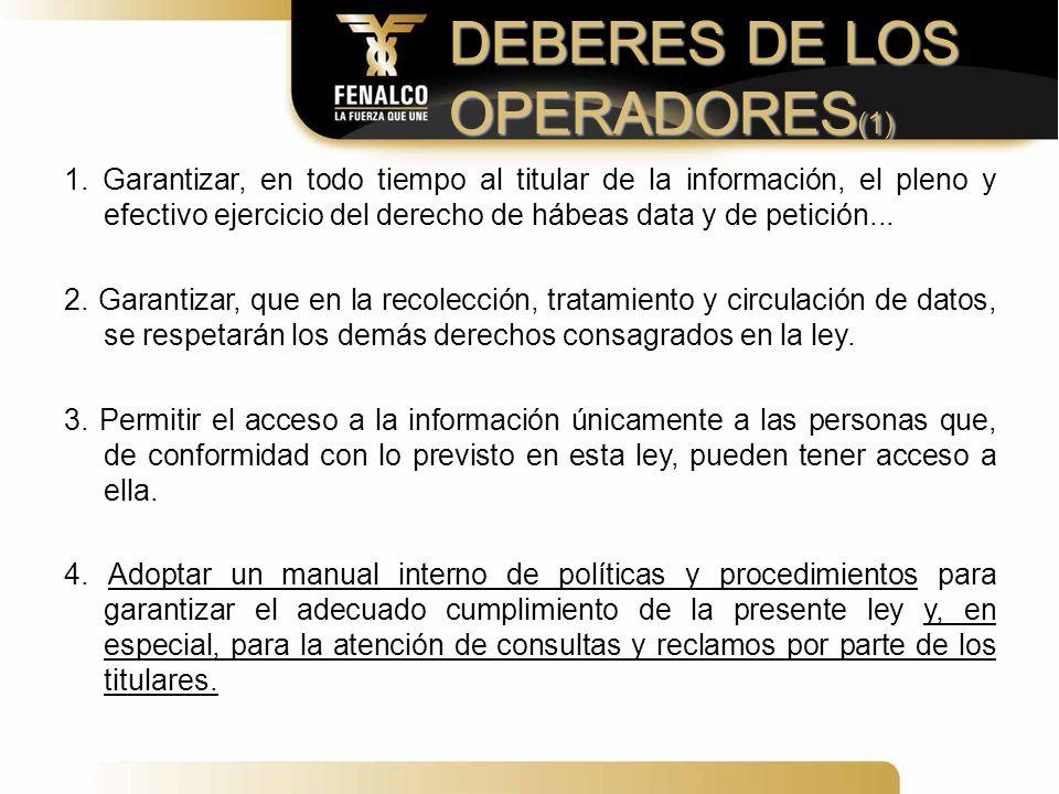DEBERES DE LOS OPERADORES(1)