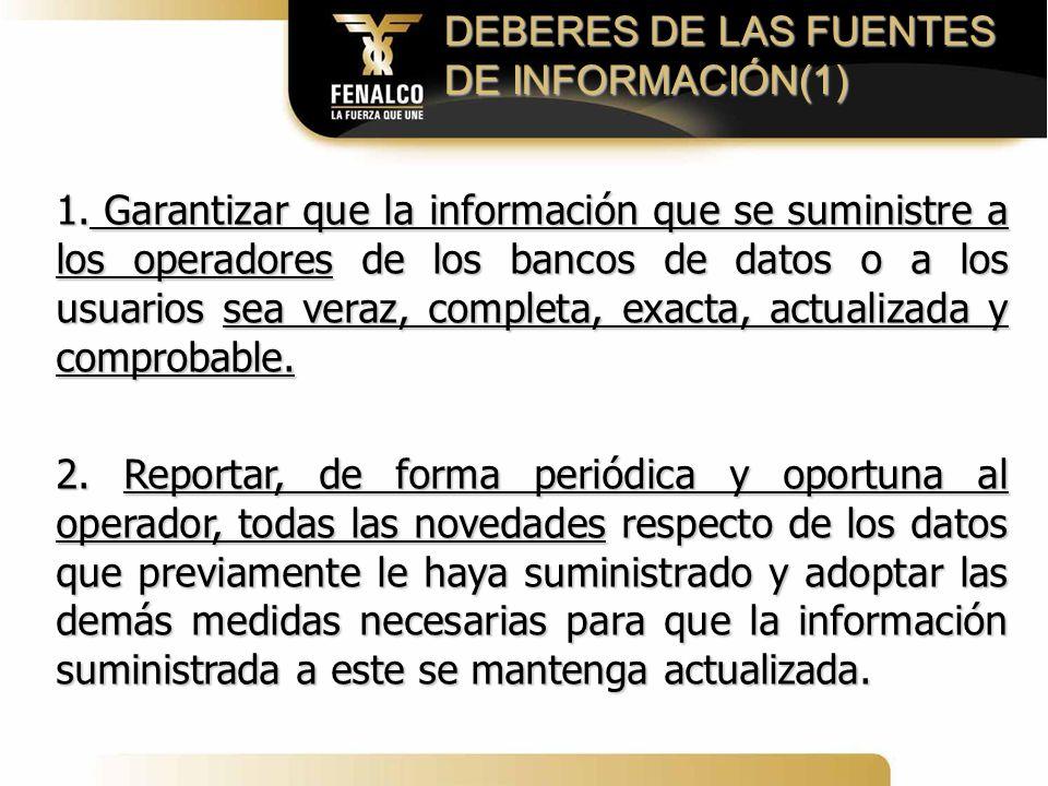 DEBERES DE LAS FUENTES DE INFORMACIÓN(1)