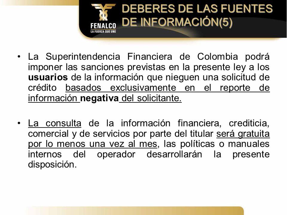 DEBERES DE LAS FUENTES DE INFORMACIÓN(5)