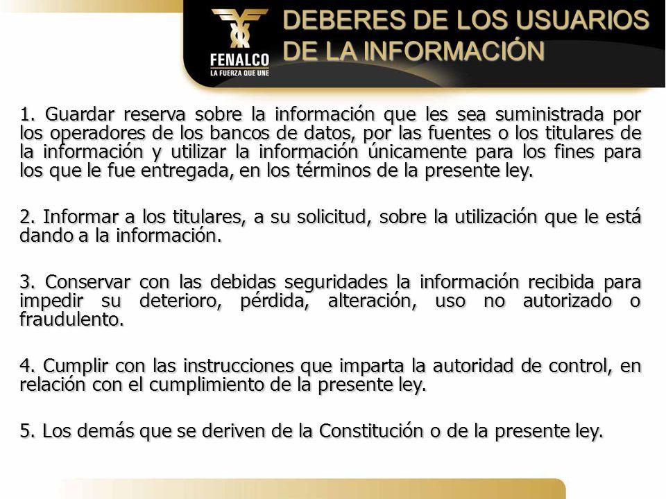DEBERES DE LOS USUARIOS DE LA INFORMACIÓN