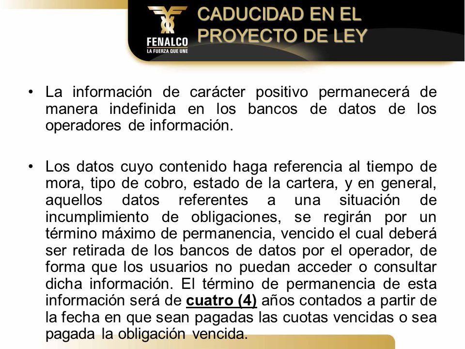 CADUCIDAD EN EL PROYECTO DE LEY