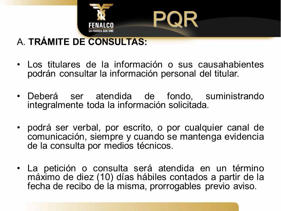 PQR A. TRÁMITE DE CONSULTAS: