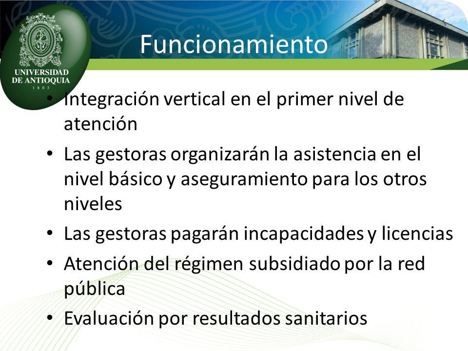 Funcionamiento Integración vertical en el primer nivel de atención