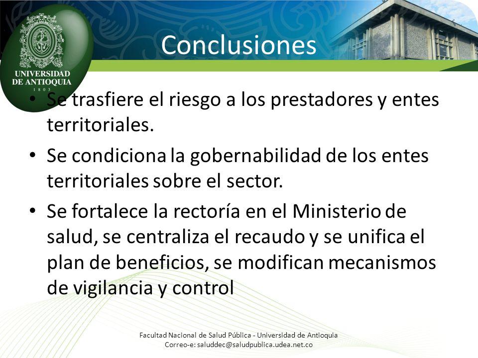 Conclusiones Se trasfiere el riesgo a los prestadores y entes territoriales.