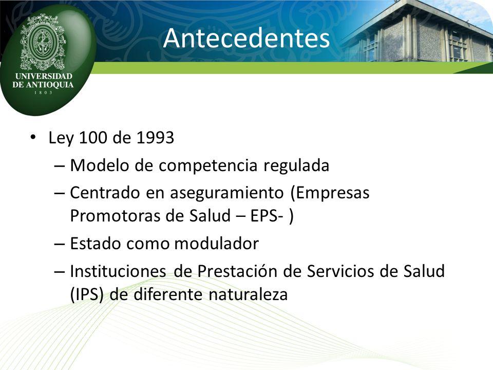 Antecedentes Ley 100 de 1993 Modelo de competencia regulada