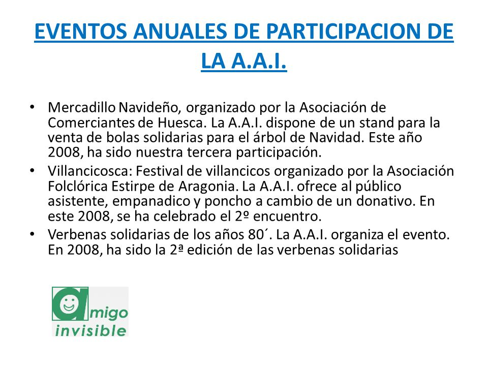 EVENTOS ANUALES DE PARTICIPACION DE LA A.A.I.