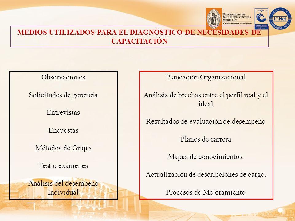 MEDIOS UTILIZADOS PARA EL DIAGNÓSTICO DE NECESIDADES DE CAPACITACIÓN