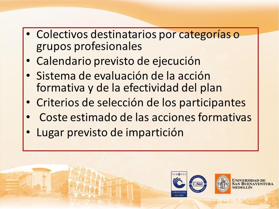 Colectivos destinatarios por categorías o grupos profesionales