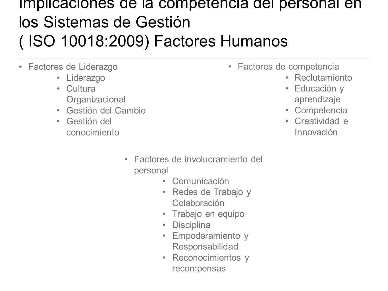 Implicaciones de la competencia del personal en los Sistemas de Gestión ( ISO 10018:2009) Factores Humanos