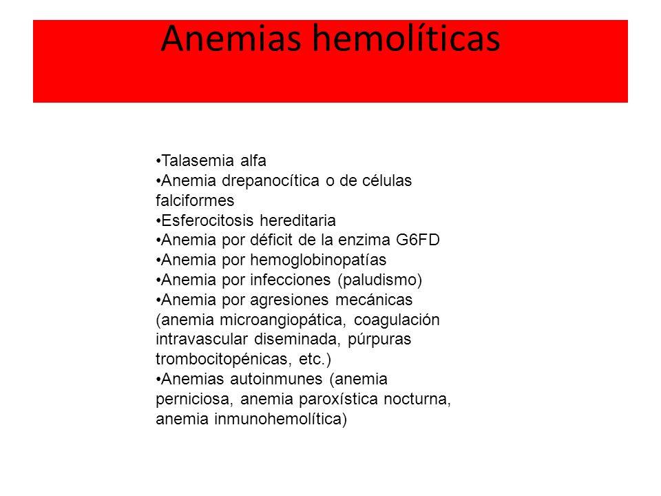 Anemias hemolíticas Talasemia alfa