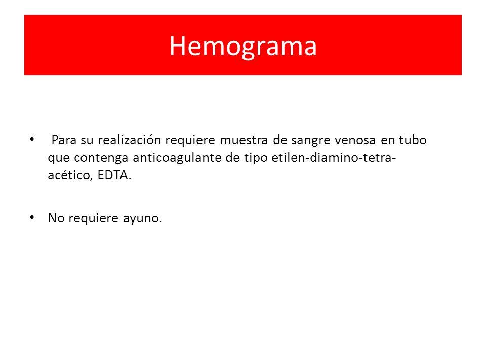 HemogramaPara su realización requiere muestra de sangre venosa en tubo que contenga anticoagulante de tipo etilen-diamino-tetra-acético, EDTA.